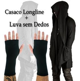 Casaco Longline Moletom + Luva Sem Dedos
