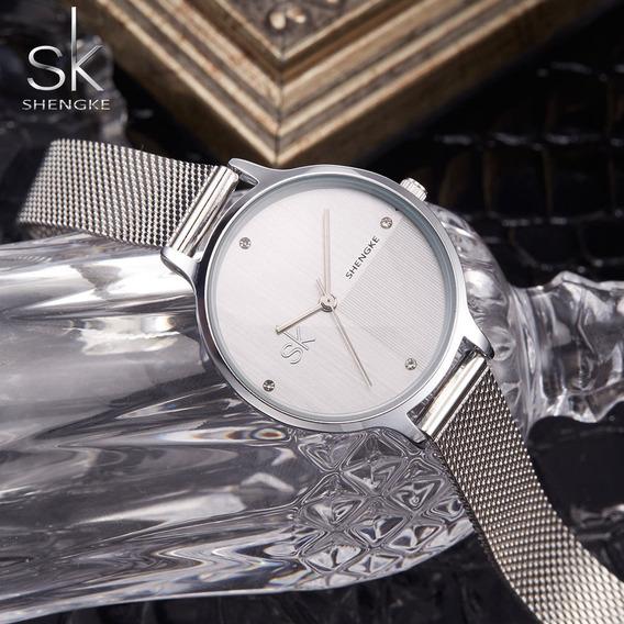 Relógio Feminino De Luxo Sk + Linda Caixa - Promoção!