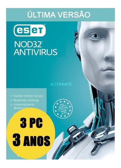 Eset Antivirus 3 Pc 3 Anos Licença Original Garantido