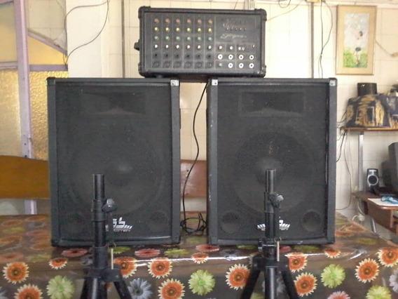 Consola De Sonido Profesional De 6 Canales Y 2 Conectas 63cm