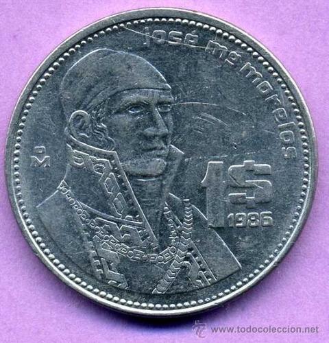 Imagen 1 de 3 de Moneda De $1 De Jose Morelos