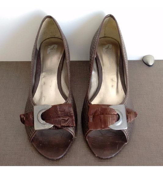 Sapato Feminino Marrom Peep Toe - Tam 35