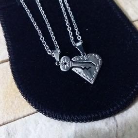 2 Corrente Casal De Namorados Pingente Coração E Chave Aço