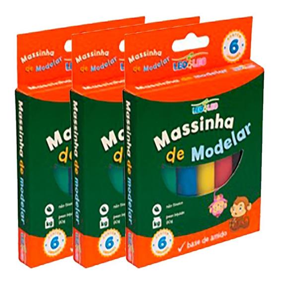 Kit Com 3 Massinha De Modelar 90g Caixa C/ 6 Cores
