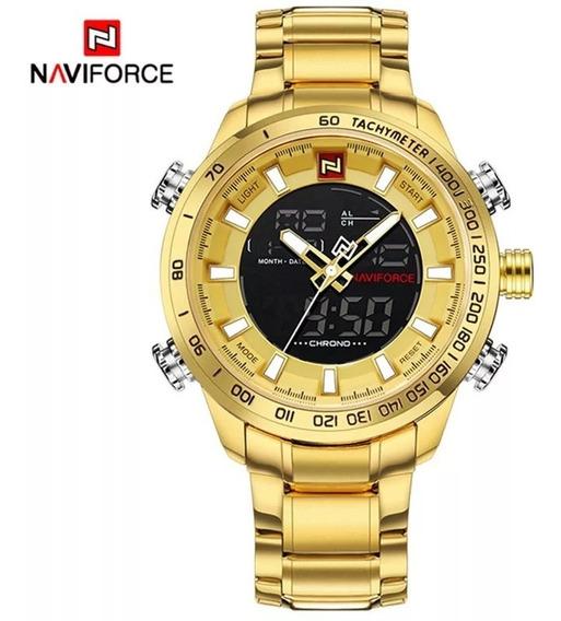 Relógio Masculino Naviforce 9093 Original Dourado Oferta