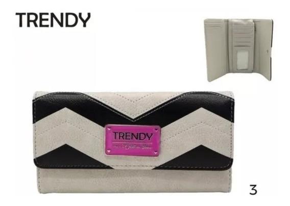 Billetera Trendy Fichero Importada Con Botón Blanco Y Negro