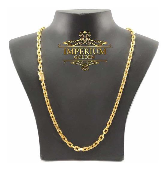 Corrente Cadeado Banhada A Ouro18k 10 Camadas 70cm