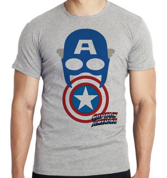 Camiseta Infantil Kids Capitão América Máscara Escudo Marvel