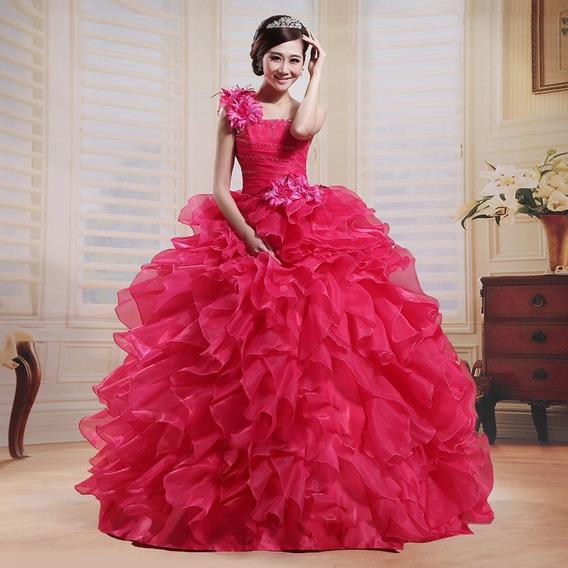 Vestido Quinceañera Princesa Olanes Un Hombro Colore Xv Años