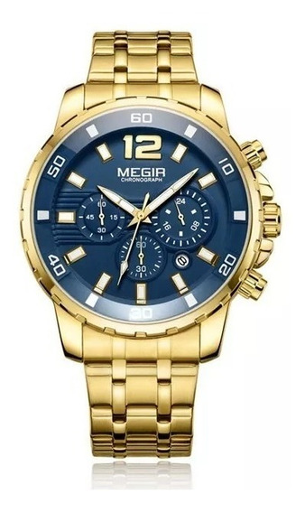 Relógio Masculino Megir Cronógrafo Dourado Original 2n3