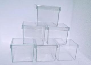 80 Caixinha Acrílico 6x6 Atacado Transparente Lembrancinha