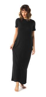 Vestido Largo Manga Corta Color Negro Mizu
