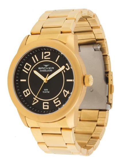 Relógio Backer Masculino Ref: 6115175m Pr Casual Dourado Aço