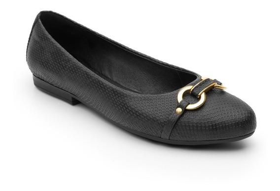 Flexi Balerinas Negras Dama Flats Zapato De Piso Piel Cuero