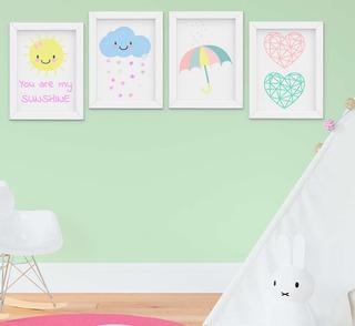 Quadro Infantil Bebê Menina Chuva De Amor Kit 4 Peças -1181a