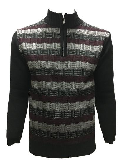 Suéter Con Cuadros Medio Cierre Hombre