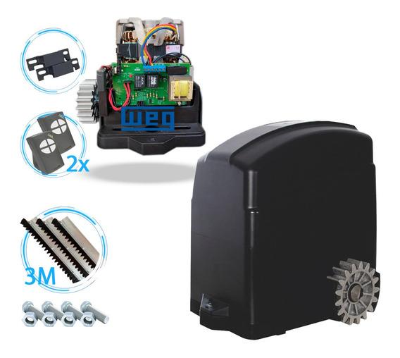 Kit Motor Portão Eletrônico Deslizante Automatizador Agl Trino 300 Estator Weg 127v 220v 2 Anos Garantia Completo