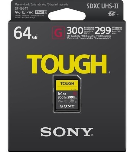 Cartão Original Nacional Sd Sony 64gb 4k Tough 300 Mb/s