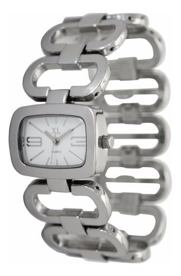 Reloj Xl Extra Large Moda Metal Dama Xl105 Blanco