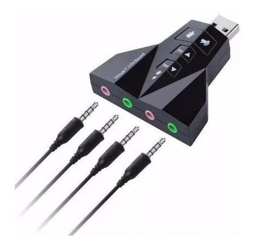 Adaptador Usb Placa De Som 7.1 Para 2 Microfone E 2 Fones