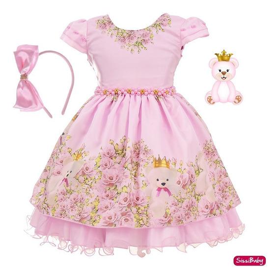 Vestido Infantil Ursa Princesa Realeza Rosa Luxo Tiara