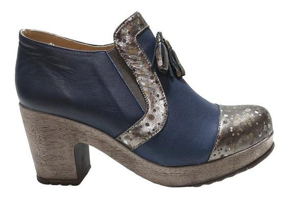 Zapato De Cuero Mujer Comodo Combinado 532. Marca Descansito