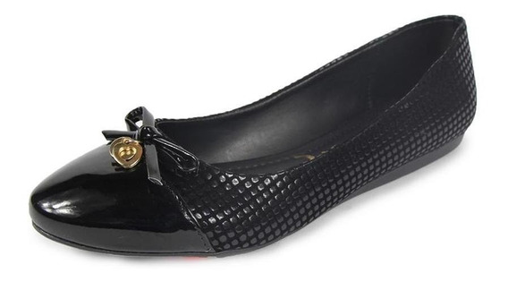 Zapatos Dama Flats Clasben Charol Negro Casuales Cómodos
