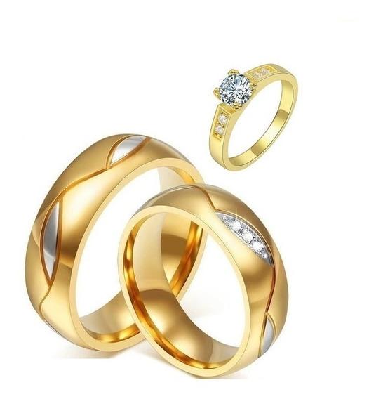Par De Alianças Noivado Casamento Banhada+anel Solitario
