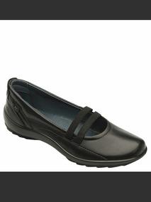 Zapato Para Dama Flexi Negro #7 Con Cintas Elasticas