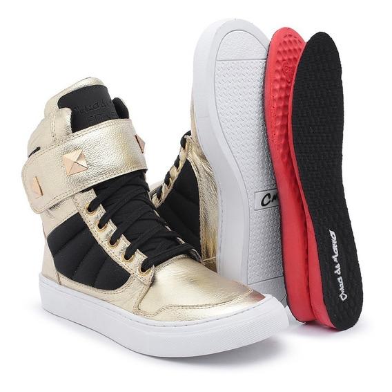 Botinha Academia Tênis Sneakers Feminino Couro P/ Malhar Top