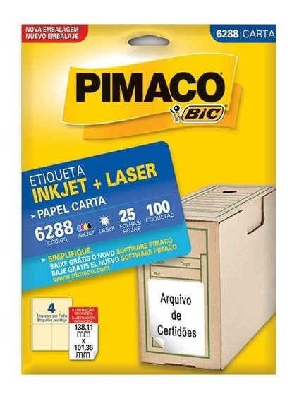 Etiqueta Pimaco Inkjet + Laser - 6288 00279
