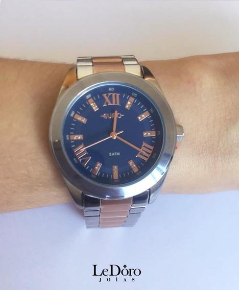 Relógio Euro Prata E Rose Com Fundo Azul