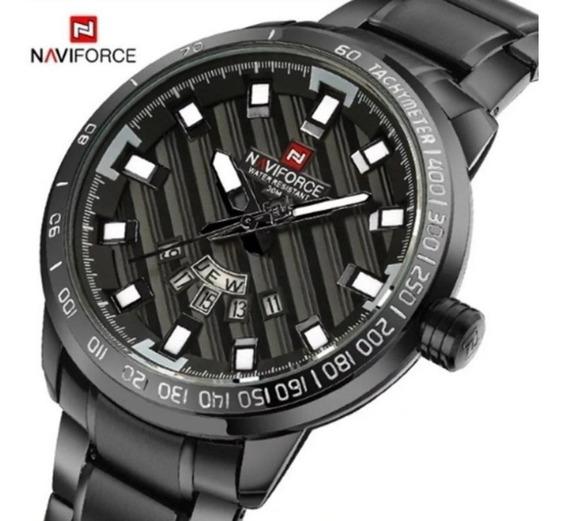 Relógio Masculino Preto Luxo Naviforce 9090 Original 30m