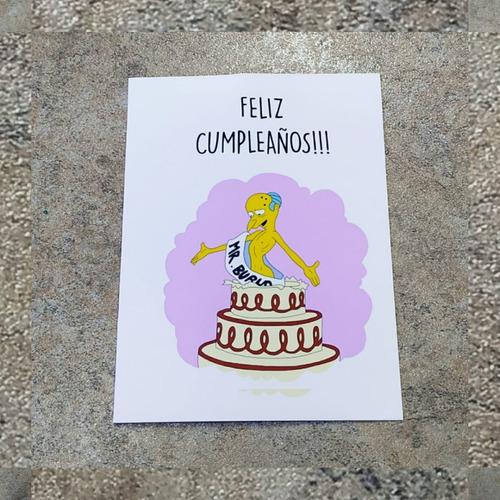 Imagen 1 de 7 de Tarjeta Simpsons Feliz Cumple Del Sr Burns