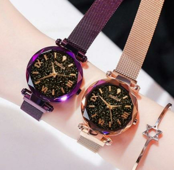 Relógio Luxo Feminino Céu Estrelado