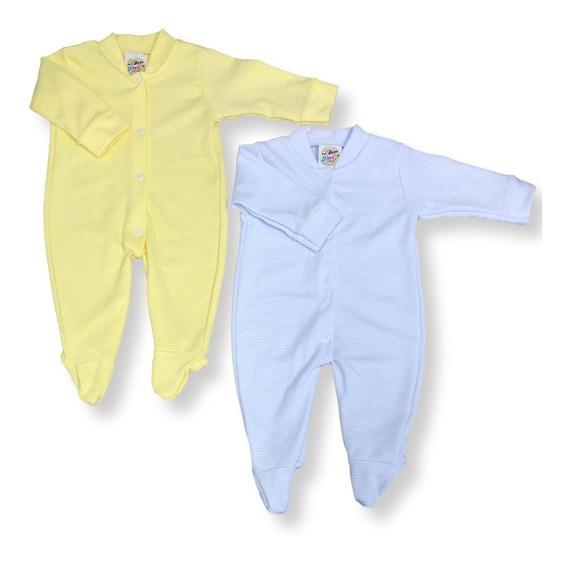 Macacão Bebê Unissex Listrado Kit Com 2 Pçs, Tecido Grosso