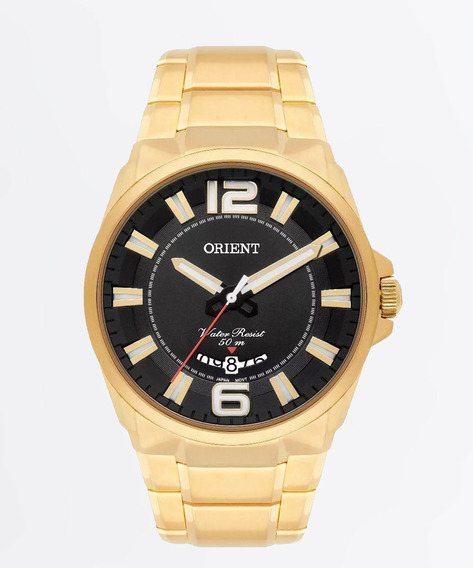 Relogio Orient Masculino Dourado Original Inox Mgss1157 P2kx