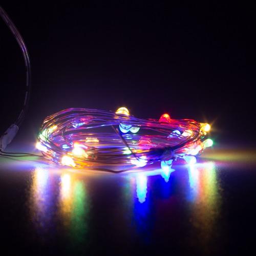 Imagen 1 de 5 de Luces Serie Navideña 30 Micro Led 3m Multicolor Cobre Led