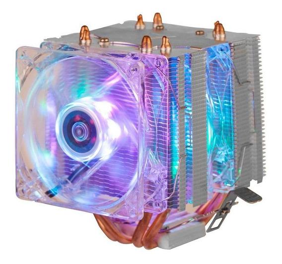 Cooler Fan Duplo Gamer 6 Leds Argb Pata Cpu Universal Intel