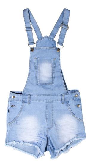 Jardineira Macacao Jeans Feminina Infantil Juvenil Adulto