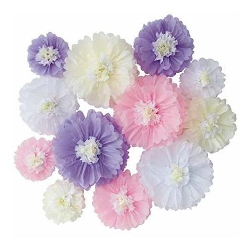 Lavanda Rosa Flor De Papel De Seda Blanca Para Niña Neutral