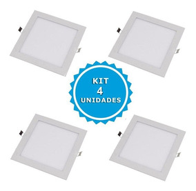 Kit 4 Plafon Luminaria Embutir Painel Teto Led Spot 6 Watts