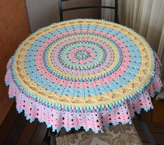 Mantel Redondo Mandala Tejido A Crochet