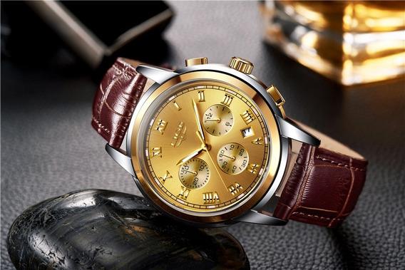 Relógio Lige Pulseira Em Couro De Luxo 100% Funcional