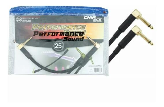 Kit 5 Cabos Performance Sound P10mono 90° 25cm P/ Pedal 4000