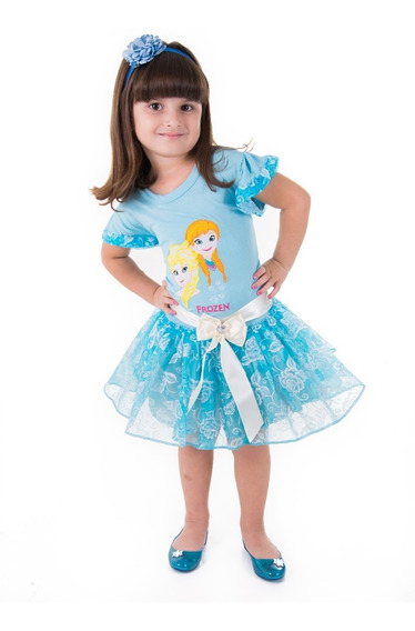 Vestido De Festa Frozen Infantil Elsa Aniversario Princesa