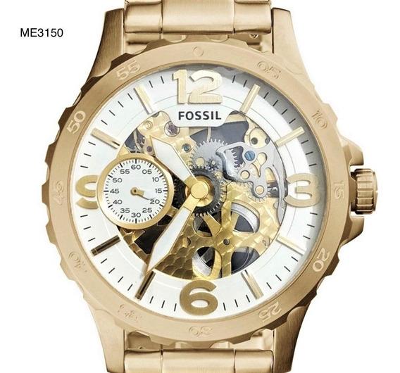 Relógio De Pulso Fossil Aço Mecânico Dourado Me3150