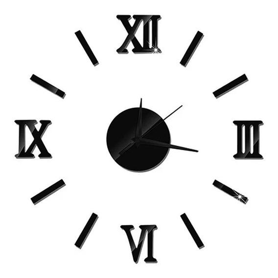Reloj Minimalista Gigante De Pared 3d Espejo Romanos /e