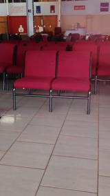 Cadeira Longarina 2 Lugares - Tecido Vermelho - 19 Pçs Disp.