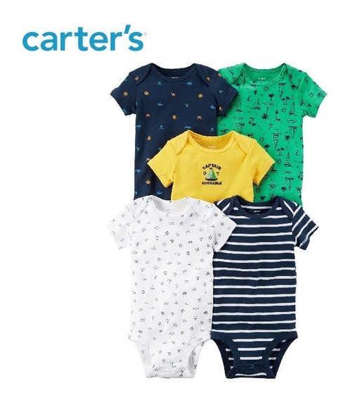 Conjunto Kit Body Manga Curta Carters 0 A 3 Meses